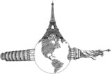 Statue of Liberty, Pisa Tower, Eiffel Tower for travel.