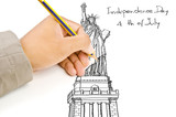 Hand drawing Statue of Liberty line.