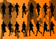 Marathon runners vector background
