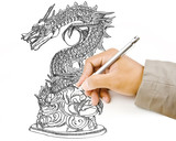 Hand drawing chinese style dragon statue line.