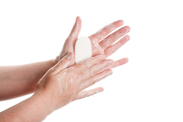 Washing female hands