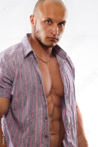 male muscular model with open shirt on