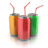 colorful aluminum cans with straws on white background