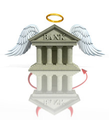 banking problems 3d concept - angel/devil bank