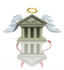 banking problems 3d concept - angel/devil bank