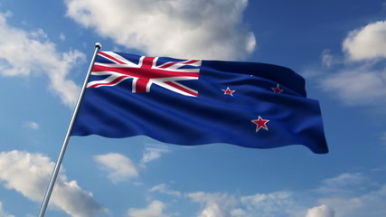 New Zealand flag waving against clouds background