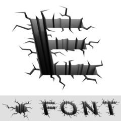 cracked font letter E