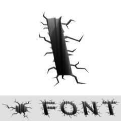 cracked font letter I
