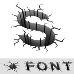 cracked font letter S