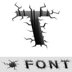 cracked font letter T