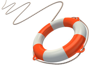 lifebuoy in the air 3d illustration