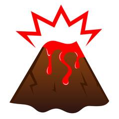 Erupting volcano with lava