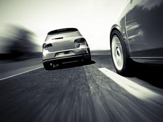 Car chase b&w