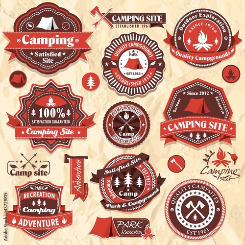 Vintage camping labels set