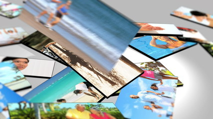 Montage 3D tablet  fitness images of families exercising