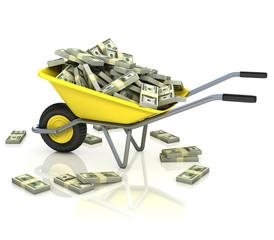 wheelbarrow full of money - wealth fortune lottery 3d concept