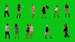 A lot of people dancing on green screen