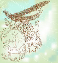 Christmas hand drawn card for Xmas design