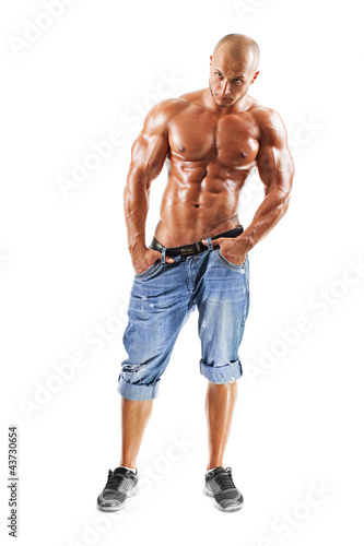 Muscled male model posing