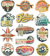 California vintage stickers grunge collection