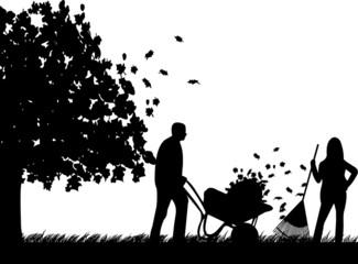 Couple raking leaves in autumn or fall in garden or yard