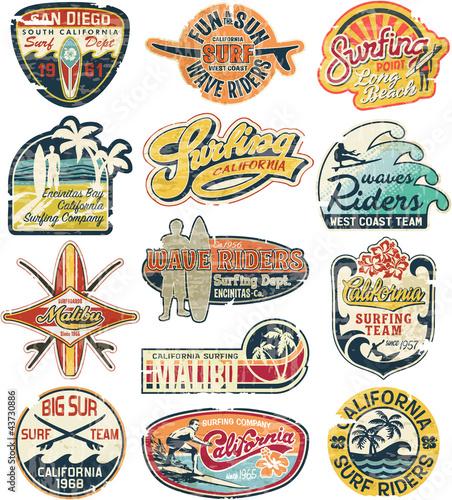 Kolekcja grunge zabytkowe naklejki kalifornijskie