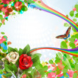 Elegant background with beautiful roses, rainbow and butterfly