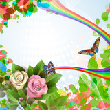 Elegant background with beautiful roses, rainbow and butterflies