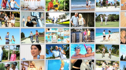 Montage 3D fitness video walls of exercising