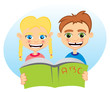 Boy and girl reading together from one book