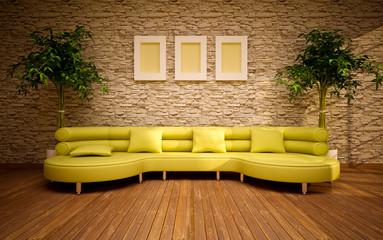 modern living room with lemon sofa