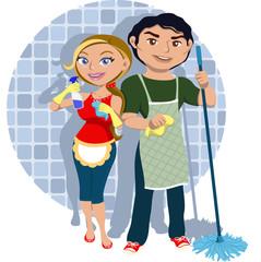 Hombre y mujer compartiendo tareas del hogar