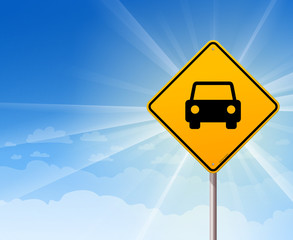 Car Roadsign on Blue Sky