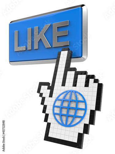 Like button and hand cursor with icon of the globe.