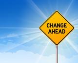 Change Ahead Roadsign on Blue Sky