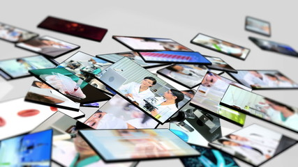 Montage 3D tablet inside  technical laboratory
