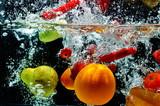 Fototapety Various Fruit Splash on water
