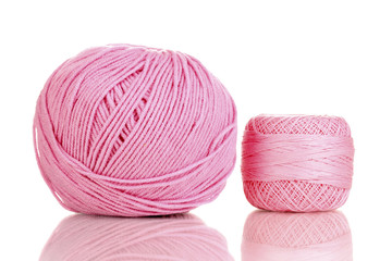 Knitting yarn isolated on white