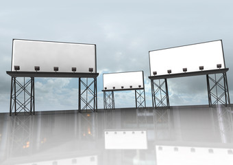 three clear billboards construction with reflectors