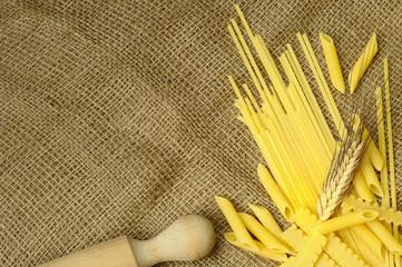 Linguine, penne and reginette, italian pasta