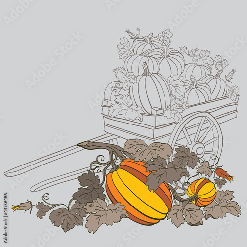 pumpkins in wagon, with fall autumn colors