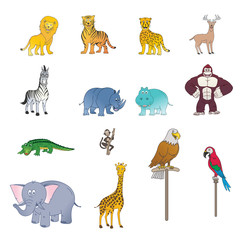 Set Of Wild Animal Color
