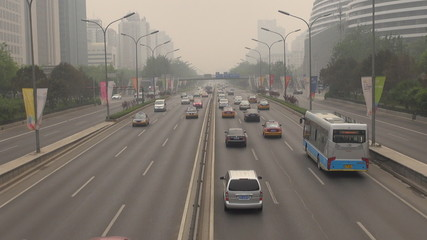 Heavy traffic in Beijing during Mongolia dust storm, China