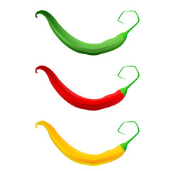 Hot chilli pepper set red yellow and green