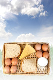 a basket of dairy products