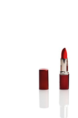red lipstick isolated over white