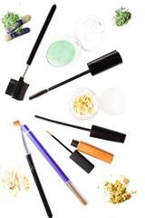 set of eye make-up isolated on white