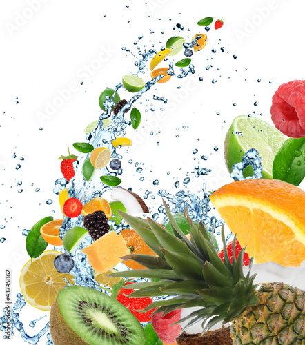 Fresh healthy fruit background with splashing water - 43745862
