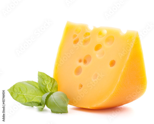 Cheese and basil leaves