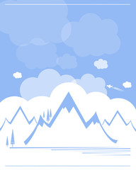 mountain range landmark with blue sky and clouds